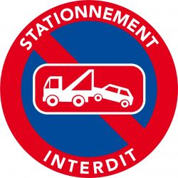 Autocollants interdiction de stationner. Mise en fourrière