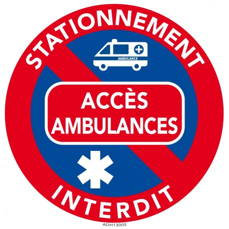 autocollants interdiction de stationner acc s ambulance. Black Bedroom Furniture Sets. Home Design Ideas