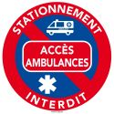 Autocollants interdiction de stationner - Accès ambulance