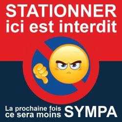 """Autocollant avertissement """"Stationner ici est interdit"""""""