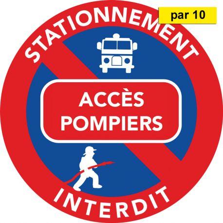 Autocollants stationnement interdit - Accès pompier - vendus par 10