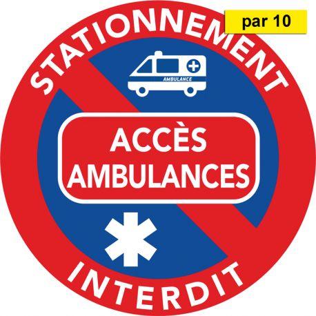 Autocollants stationnement gênant - Accès ambulances - vendus par 10