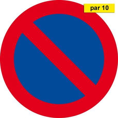 Autocollants interdiction de stationner vendus par 10