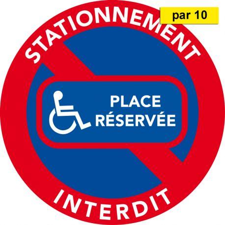 Autocollants place réservée handicapés vendus par 10