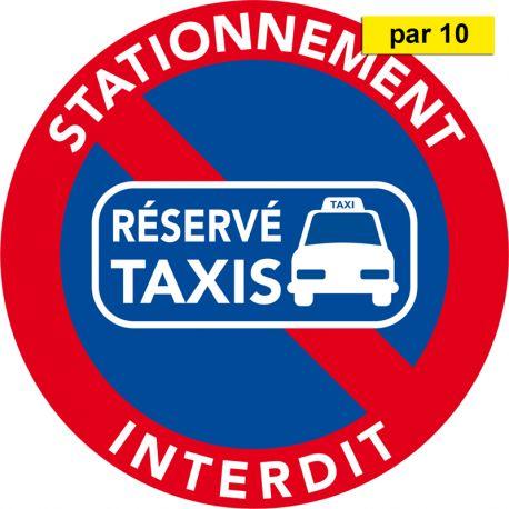 Autocollants stationnement sur place réservée aux taxis vendus par 10