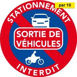 Interdiction de stationner car sortie de véhicule. Vendus par 10