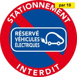 Autocollants stationnement interdit réservés véhicules électriques. Par 10