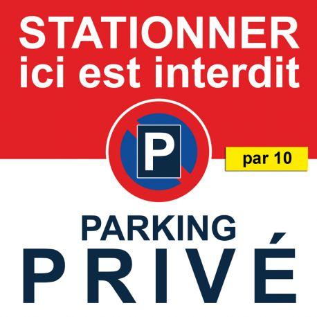 Autocollants stationnement interdit parking privé. Vendus par 10