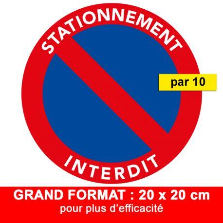 Autocollant stationnement interdit - Grand format. Vendus par 10