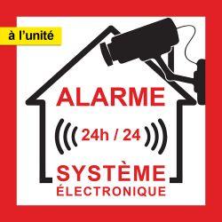 Autocollant Alarme Maison. 24/24 Système électronique.